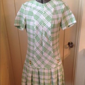 Dresses & Skirts - Vintage 1960s Green & White Plaid Scooter Dress